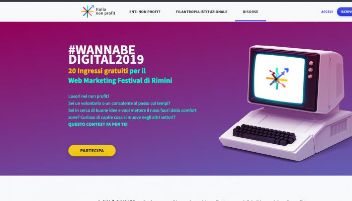 3941174c4627 Il progetto serve per aiutare la trasformazione digitale dei professionisti  del terzo settore. In palio 20 ingressi gratuiti al Web Marketing Festival  di ...
